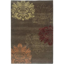 Nepalese Hand-knotted Brown/ Gold Lotus Wool Rug (2'6 x 10')