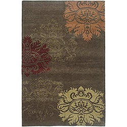 Nepalese Hand-knotted Brown/ Gold Lotus Wool Rug (4' x 6')