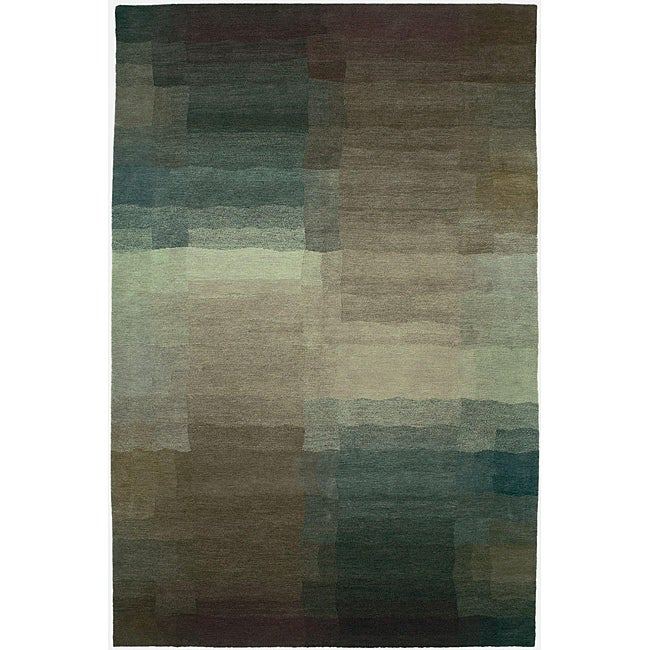 Nepalese Hand-knotted Plum Reflections Wool Rug (4' x 6')
