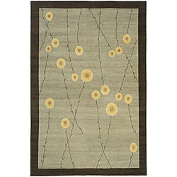 Nepalese Hand-knotted Grey Jardin Wool Rug (2'6 x 10')