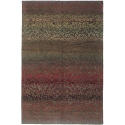 Nepalese Hand-knotted Mauve Divine Wool Rug (5' x 7')