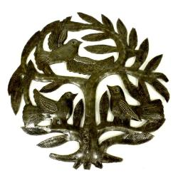 Recycled Steel Drum 8-inch Tree of Life and Three Birds Wall Art (Haiti)