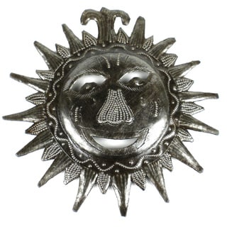 Recycled Steel Drum 8-inch Sun Face Wall Art (Haiti)