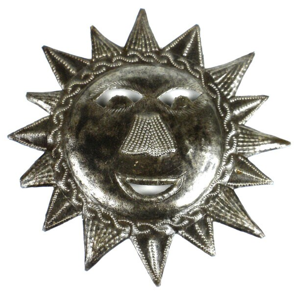 Recycled Steel Drum 8-inch Happy Sun Wall Art (Haiti)