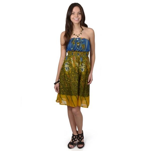 Journee Collection Women's Strapless Mixed Print Empire Waist Dress