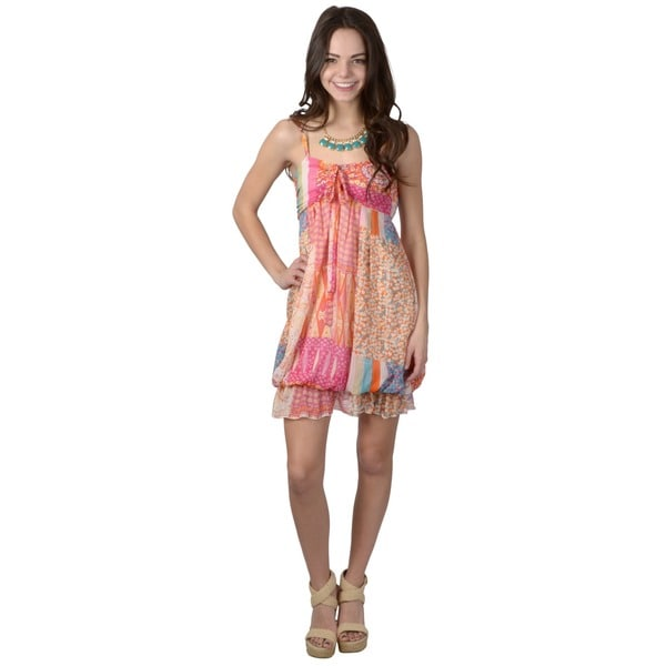 Journee Collection Women's Spaghetti Strap Multi-print Dress