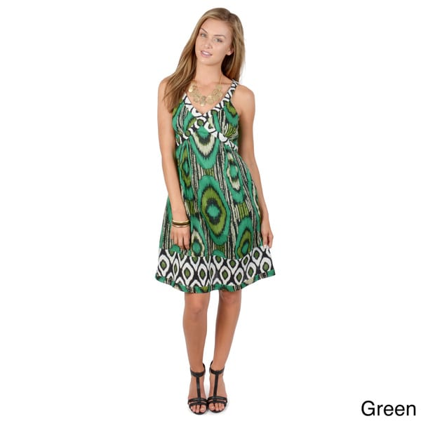 Journee Collection Women's V-neck Ethnic Print Dress