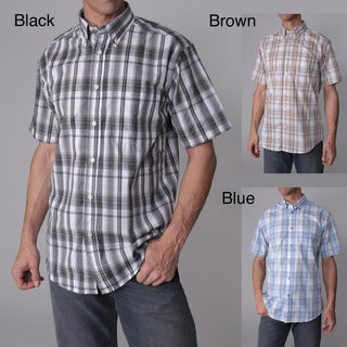Gioberti by Boston Traveler Men's Checkered Short-sleeve Shirt