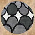 Alliyah Handmade New Zeeland Blend Grey Geometric Rug (6' Round)