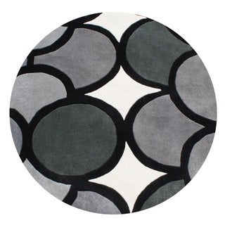Alliyah Handmade Grey New Zealand Blend Wool Rug (6' Round)