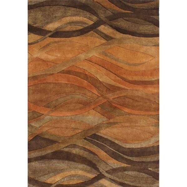 Alliyah Handmade Caramel, Autumn Leaf, Chipmunk, Brown, and Rust New Zealand Blend Wool Rug (4' x 6')