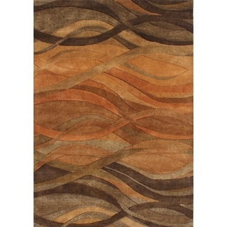 Alliyah Handmade Caramel, Autumn Leaf, Chipmunk, Brown, and Rust New Zealand Blend Wool Rug (4' x 6')
