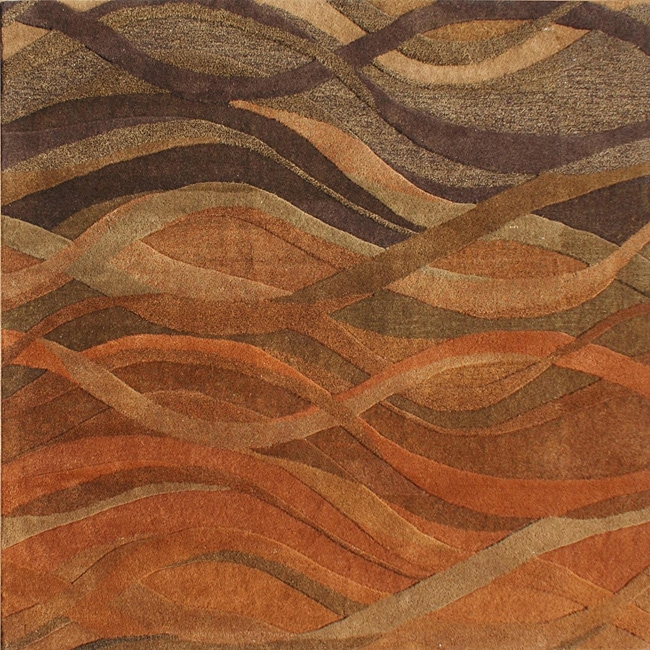 Alliyah Handmade Multi Abstract New Zealand Blend Wool Rug