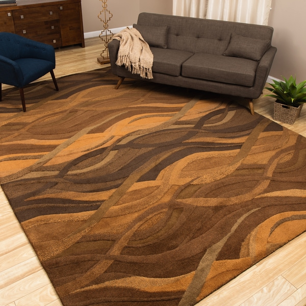 Alliyah Handmade Autumn Brown New Zealand Blend Wool Rug (9' x 12')