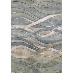 Alliyah Handmade New Zeeland Blend Classic Silver Grey/Green Wool Rug (4' x 6')
