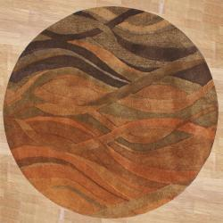 Alliyah Handmade Multi Abstract New Zealand Blend Wool Rug (6' Round)
