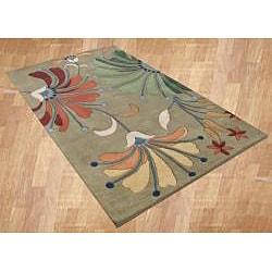 Alliyah Handmade Khaki Green New Zealand Blend Wool Rug (9' x 12')