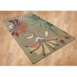 Alliyah Handmade Khaki Green New Zealand Blend Wool Rug (8' x 10')
