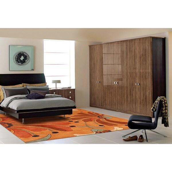 Alliyah Handmade Rust, Orange Rust, Burgundy, and Green Spruce New Zealand Blend Wool Rug (5' x 8')