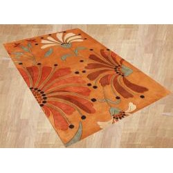 Handmade Tufted Eastern Orange Wool Rug (5' x 8')