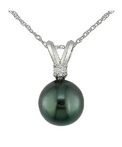 Miadora 14k Gold Cultured Tahitian Pearl and Diamond Accent Necklace (8 mm)