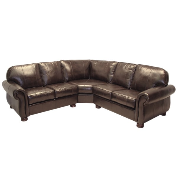 Melrose Dark Brown Italian Leather Three Piece Sectional