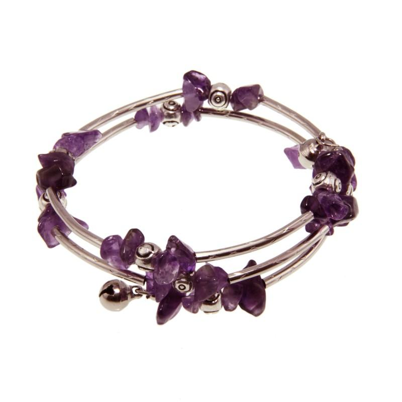 Tibetan Silver Amethyst Bead Bangle Bracelet (China)