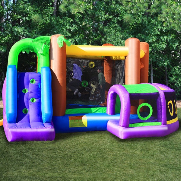 KidWise Vibrant Monkey Explorer Jumper Inflatable Bounce House 7959629
