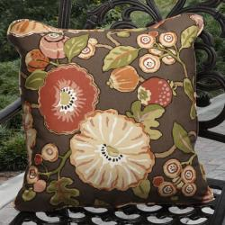 Kate Indoor/ Outdoor Brown Floral Pillows Made With P. Kaufmann Fabric (Set of 2)