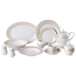 Lorren Home Gold Pearl 49-piece Dinnerware Set