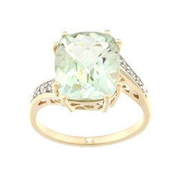10k Yellow Gold Green Amethyst and Diamond Accent Ring