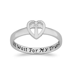 Limoges Sterling-Silver Diamond Accent Purity Sentiment Fashion Ring