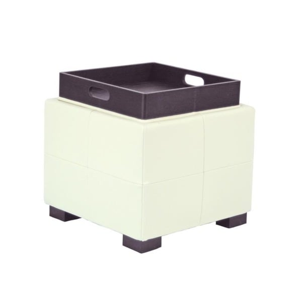 Safavieh Mercer Single Tray Off-White Leather Storage Ottoman
