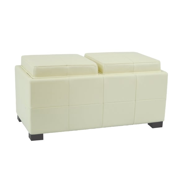 safavieh mercer double tray off white leather storage ottoman 13588500. Black Bedroom Furniture Sets. Home Design Ideas
