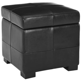 Safavieh Essex Fliptop Black Leather Storage Ottoman