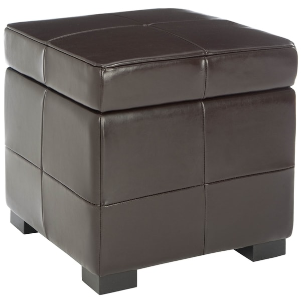 Safavieh Essex Fliptop Brown Leather Storage Ottoman