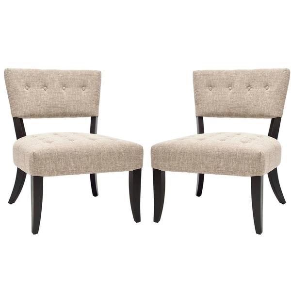 Safavieh Bowery Tufted Smokey Grey Living Room Chairs (Set of 2)