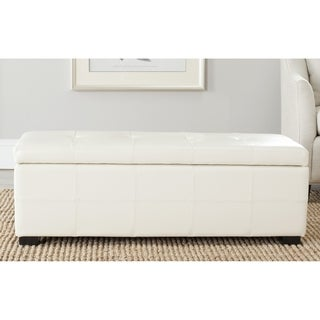Safavieh Broadway Flat Cream Leather Large-size Storage Bench