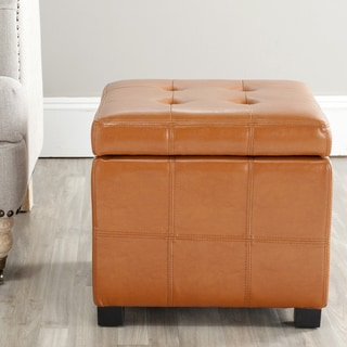 Safavieh Broadway Saddle Leather Tufted Storage Ottoman