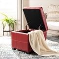 Broadway Red Leather Tufted Storage Ottoman