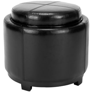 Safavieh Broadway Single Tray Black Leather Storage Round Ottoman