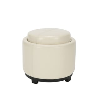 Safavieh Broadway Single Tray Off-White Leather Storage Round Ottoman