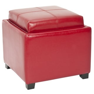 Safavieh Broadway Single Tray Red Leather Storage Ottoman
