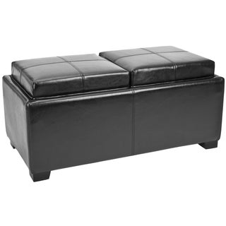 Safavieh Broadway Double Tray Black Leather Storage Ottoman