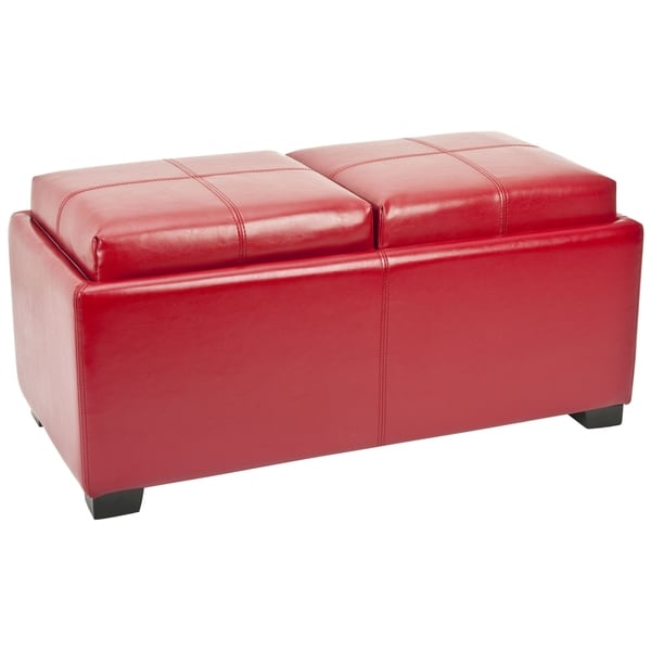 Safavieh Broadway Double Tray Red Leather Storage Ottoman