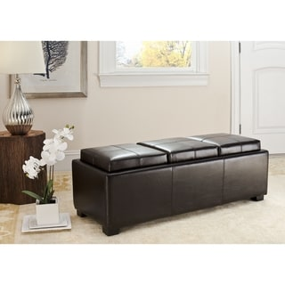 Safavieh Broadway Triple Tray Brown Leather Storage Ottoman