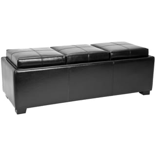 Safavieh Broadway Triple Tray Black Leather Storage Ottoman