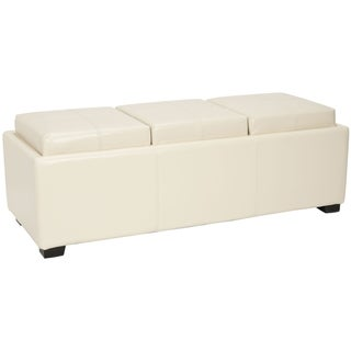 Safavieh Broadway Triple Tray Flat Cream Leather Storage Ottoman
