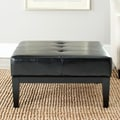 Safavieh Broadway 29-Inch-Wide Black Leather Cocktail Ottoman