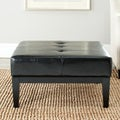 Safavieh Broadway Storage 29-Inch-Wide Black Leather Cocktail Ottoman